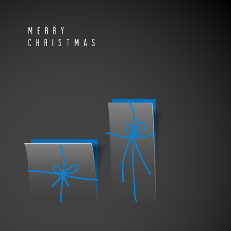 original: Vector Merry Christmas card with dark minimalistic gift boxes cut out of paper Illustration