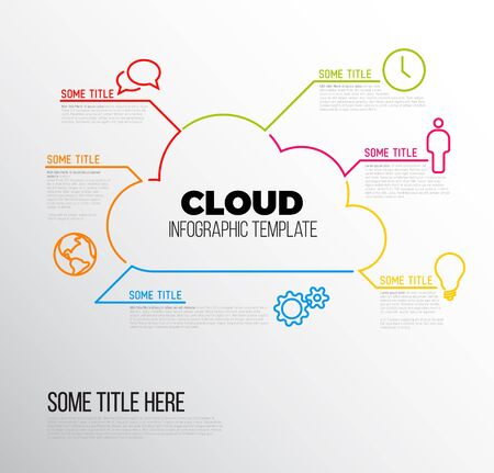 api: Vector Infographic report template made from lines and icons with cloud storage Illustration