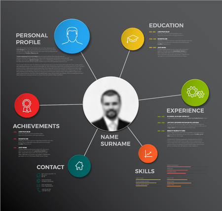Vector minimalist creative cv / resume template - dark version Çizim