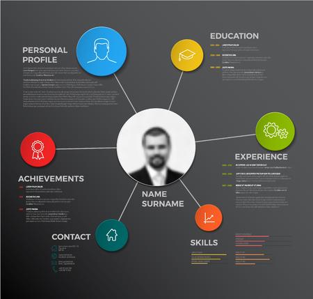 Vector minimalist creative cv / resume template - dark version Vettoriali