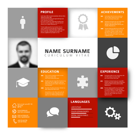 job descriptions: Vector mosaic minimalist cv  resume template profile - red and orange version