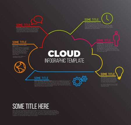 platform: Vector Infographic report template made from lines and icons with cloud storage - dark version