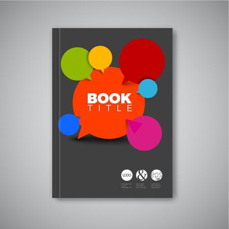 booklet design: Modern Vector abstract brochure  book  flyer design template with speech bubbles - dark version