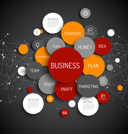 Abstract Business infographic schema - dark red and orange version