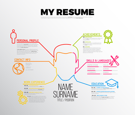 original minimalist cv  resume template - creative version with big avatar Иллюстрация