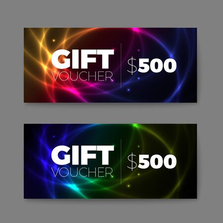 prepaid card: Set of gift (discount) voucher cards with plasma effect
