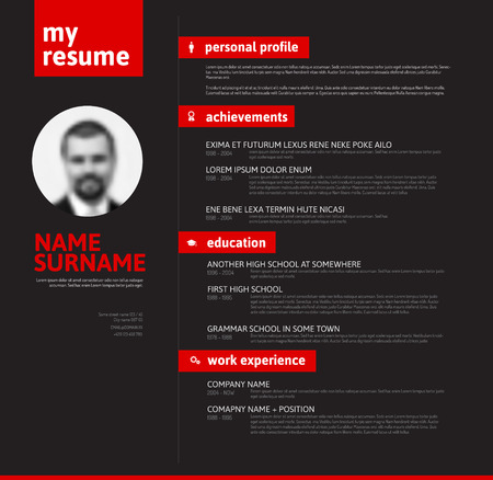 job descriptions: minimalist cv  resume template with nice typography design - red and black version