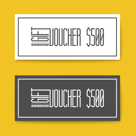 prepaid: Set of gift (discount) voucher cards - black and white minimalistic version Illustration