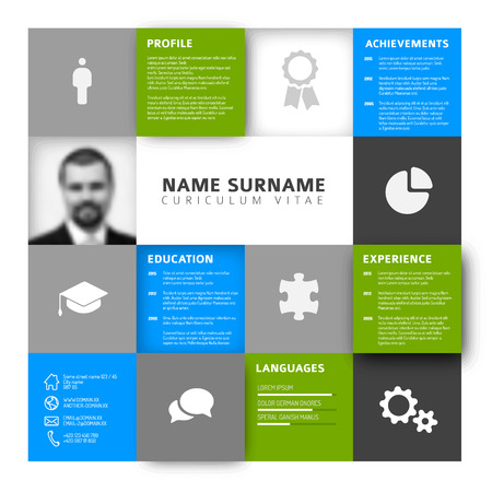 job descriptions: mosaic minimalist cv  resume template profile - green and blue version