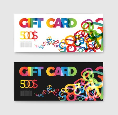 prepaid: Set of gift (discount) voucher cards - with colorful numbers