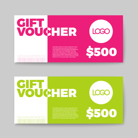 Set of gift (discount) voucher cards - green and pink minimalistic version Ilustração