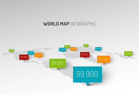 rounded: Light World map infographic template with pointer marks