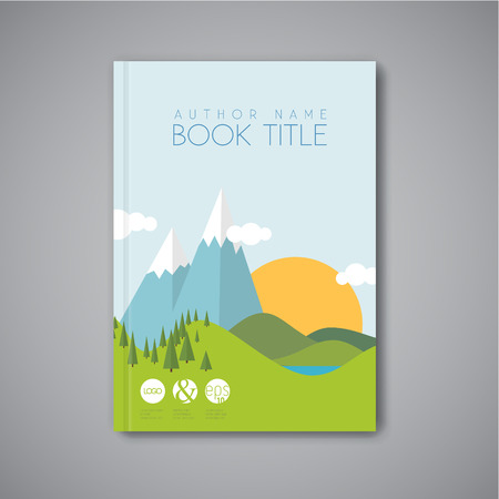 cover book: Minimalistic vector Book front cover design template with flat landscape