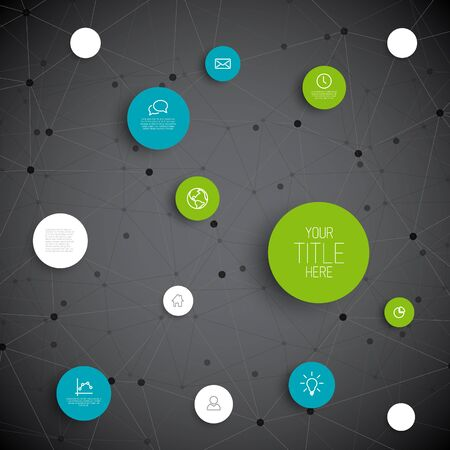 blue network: Vector abstract circles illustration  infographic network template with place for your content - blue and green dark version