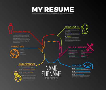 Vector original minimalist cv  resume template - creative version with big avatar - dark version
