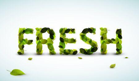 Vector Fresh lettering illustration made from fresh green leafs Vektorové ilustrace
