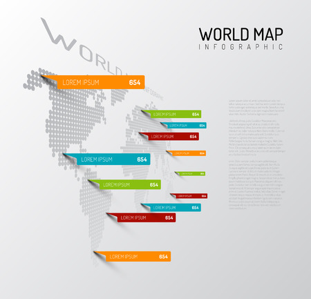 Light World map infographic template with pointer marks (vertical on the wall version) Ilustração
