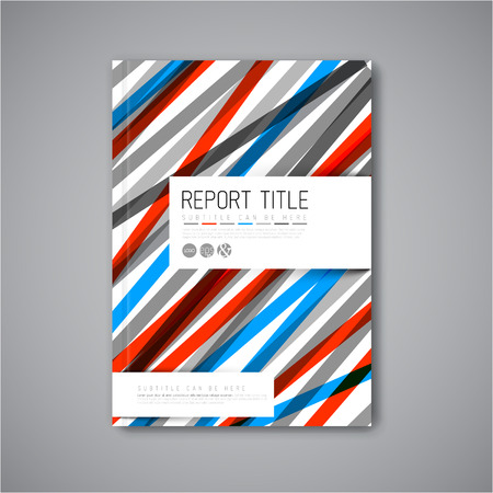 business card template: Modern Vector abstract brochure  book  flyer design template - light  blue and red version Illustration