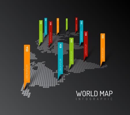 pointer: Light World map infographic template with pointer marks - dark version Illustration