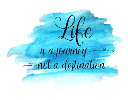Moderne tekst belettering van een inspirerend citaat die leven is een reis, geen bestemming Vector Illustratie
