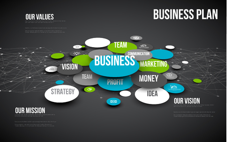 schema: Vector 3D Abstract Business infographic schema - blue and green version Illustration