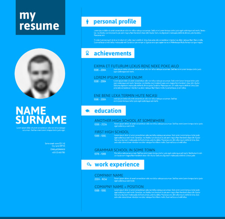 job descriptions: Vector minimalist cv  resume template with nice typogrgaphy design - blue version Illustration