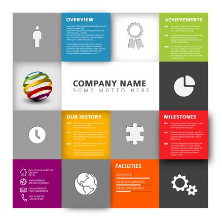 Mosaic Company info grafisch profiel ontwerp sjabloon met pictogrammen Stock Illustratie
