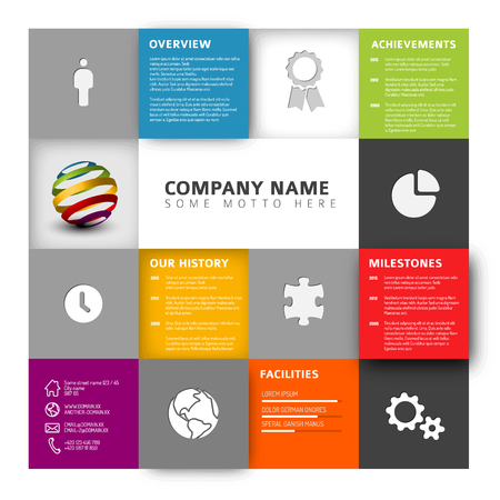 Mosaic Company info graphic profile design template with icons Illustration