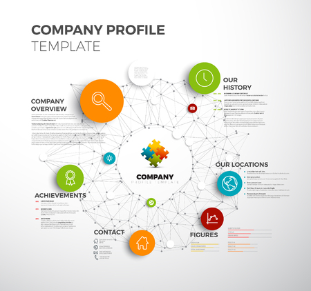 Company info graphic overview design template with network in the background Çizim