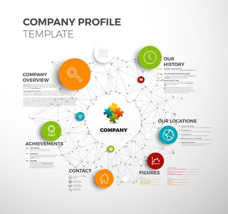 Dane firmy przegląd graficzny szablon z siecią w tle