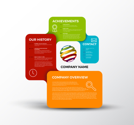 an overview: Company infographic overview design template with colorful labels - light version Illustration
