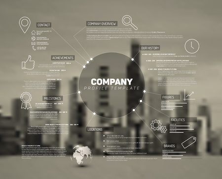 profile: Company infographic overview design template with city photo in the back