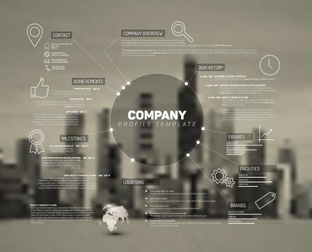 infografica: Descrizione del modello di design infografica società con foto della città nella parte posteriore