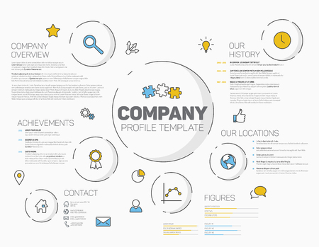 Vector Company infographic profile design template with modern hipster thin line icons