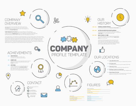 Vector Firma Infografik-Profil-Design-Vorlage mit modernen hipster dünne Linie Ikonen