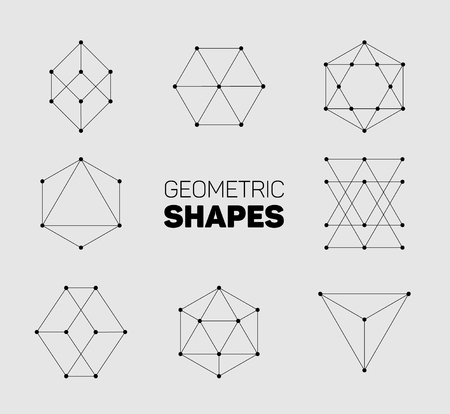 geometric shapes: Vector abstract regular geometric shapes - black on gray background