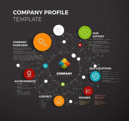 profile: Vector Company infographic overview design template with network in the background - dark version
