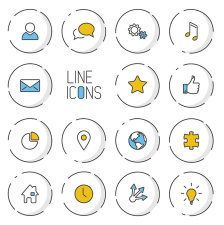 light shadow: Vector Modern circle thin line icon collection - dual color (blue and yellow), light shadow