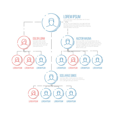 hierarchy: Company management hierarchy schema template with thin line profile icons