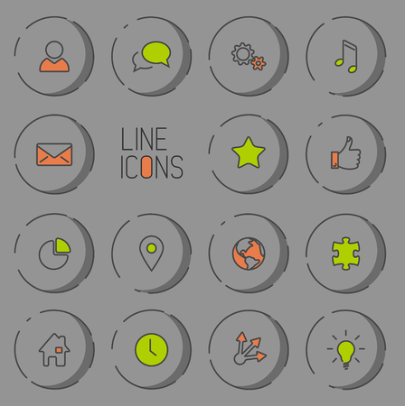 light shadow: Modern circle thin line icon collection - dual color (green and red), dark version with light shadow