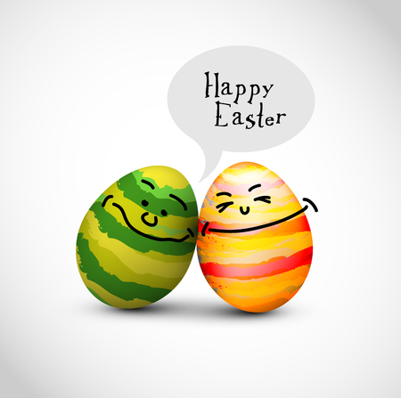 duo: Funny decorated easter eggs with a speech bubble saying Happy Easter
