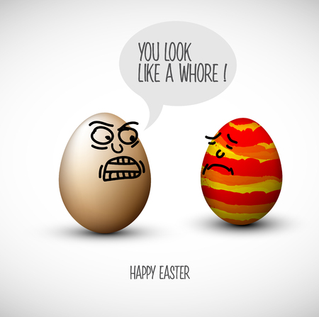 Funny easter eggs with a speech bubble and joke!