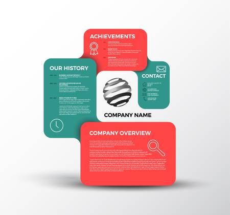 company growth: Company infographic overview design template with rectangular labels - red and teal version Illustration