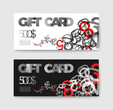 prepaid: Set of gift (discount) voucher cards - with black and white numbers