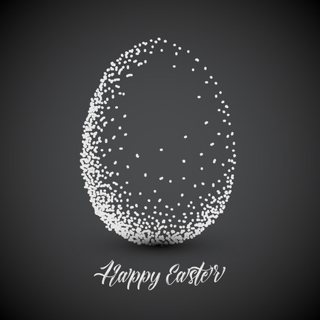 Simple Happy Easter card with egg made of small dots - dark version