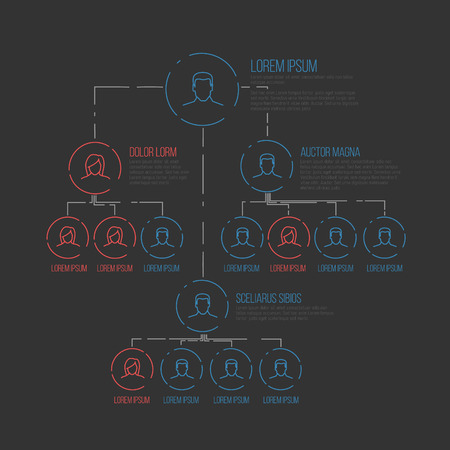 hierarchy: Company management hierarchy schema template with thin line profile icons - dark version