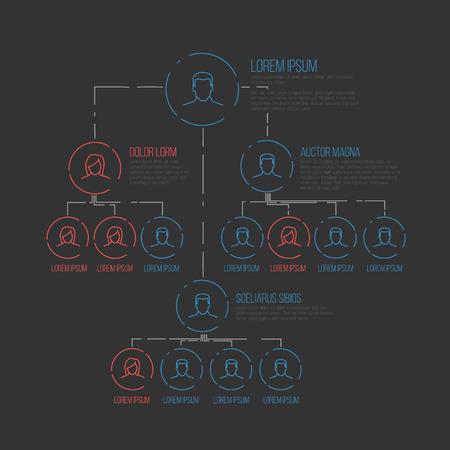 jerarqu�a: plantilla esquema de jerarqu�a de gesti�n de la empresa con los iconos de perfil de l�nea delgada - versi�n oscura