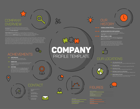 overview: Company infographic profile design template with modern hipster thin line icons - dark version