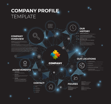overview: Company infographic overview design template with network in the background - dark blue version Illustration