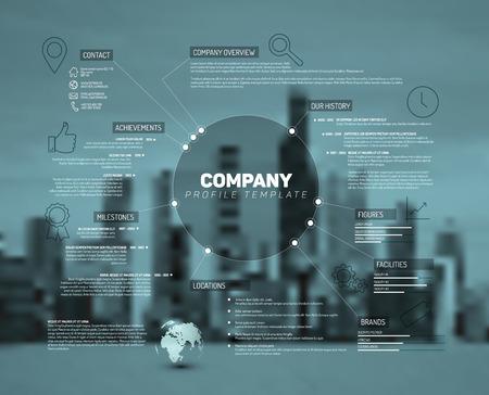 Descripción de la empresa infografía plantilla de diseño con la foto de la ciudad en la parte posterior - versión verde azulado Ilustración de vector